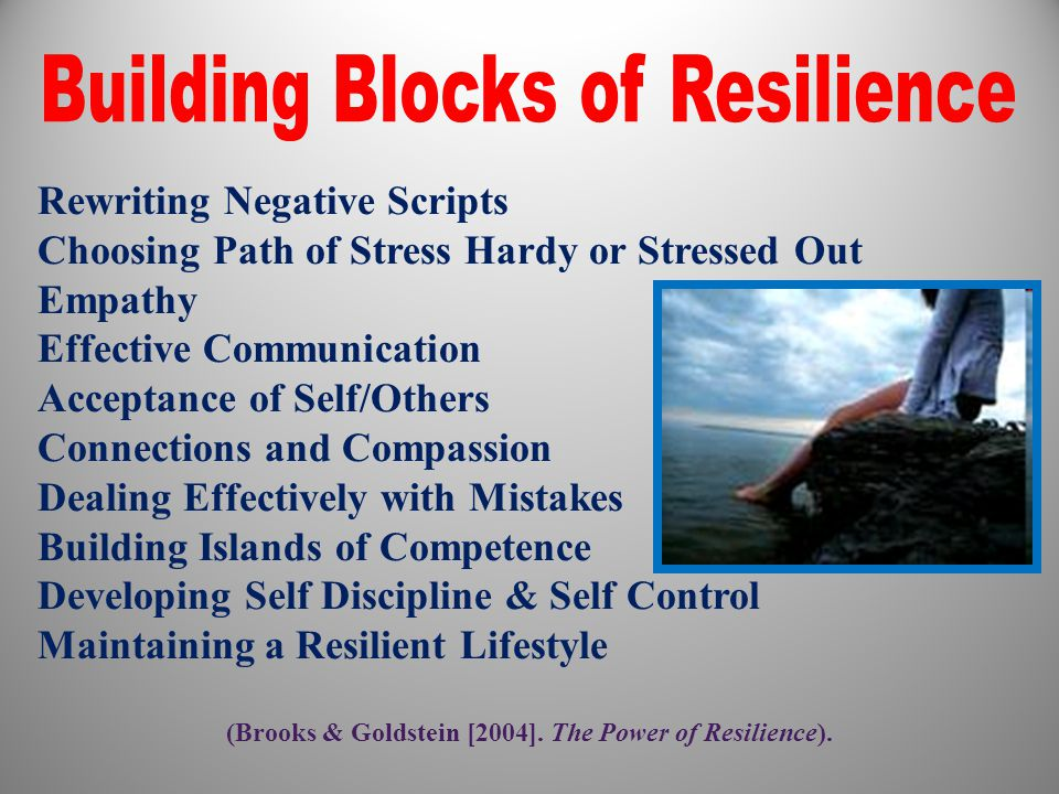 (Brooks & Goldstein [2004]. The Power of Resilience).